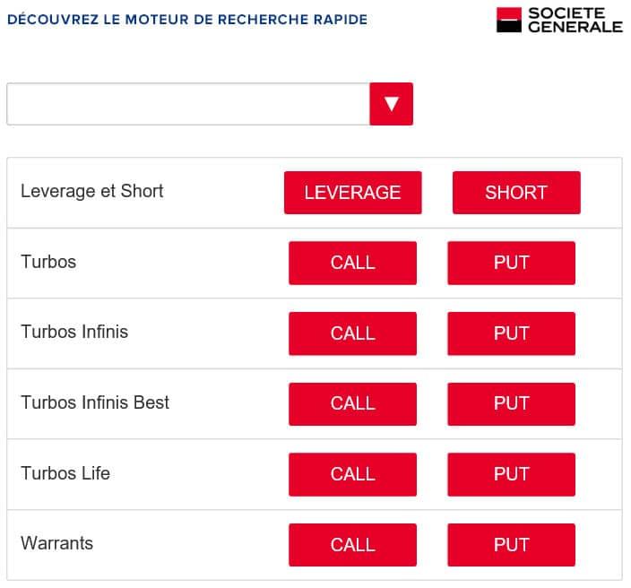 produits de Bourse Société Générale